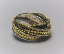 Anna Beck Designer Gold Clad Sterling Silver Dots Twist Bands Wide Ring Sz 7