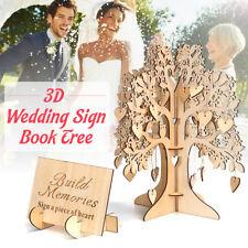 Wedding Guest Book Wooden Tree Hearts Pendant Drop Ornaments Party Decoration