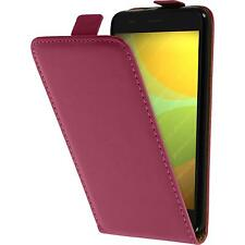 Kunst-Lederhülle für Huawei Honor 4A Flip-Case pink + 2 Schutzfolien