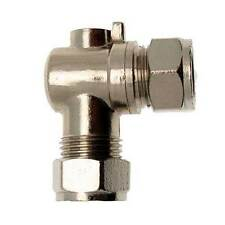 1 x 15mm Chrome Plated Isolating Valve 90 Degree / Angled / Elbow