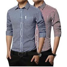 Men's Dress Shirts Long sleeve Stripe Luxury Casual Slim Business Formal E6270