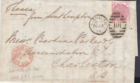 1874 QV LONDON COVER WITH A 3d ROSE STAMP PL ATE14 SENT  TO CHARLESTON SC USA