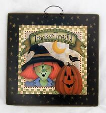 Halloween Witch Pumpkin Wood Wooden Wall Hanging Vtg Country Primitive Decor
