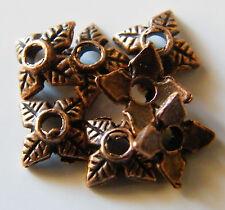 100pcs 8x2mm Metal Alloy Diamond Bead Caps - Antique Red Bronze