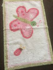 """Pottery Barn Kids Pink White Green Flower Butterfly 35"""" X 10"""" 100% CottoN Rug"""