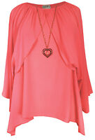 New Ladies Coral Heart Necklace Oversize Cape Tunic Top Plus Sizes 16 - 26