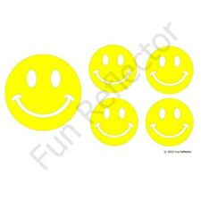 Yellow Happy Face Bicycle Reflective Stickers Decals