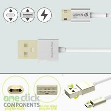 1m Silver Metal Double Sided Reverse Micro USB Fast Charger Lead WSKEN MCable
