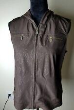 Zenergy Chicos Sleeveless Hood Vest Jkt Brown snake skin print FullZip sz 1--D07