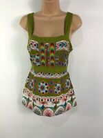 WOMENS MONSOON GREEN MULTICOLOURED FLORAL BEADED VEST TOP WITH TIE BACK UK 12