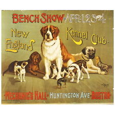 New England Kennel Club Bench Show Deco Magnet, c. 1890 Dog Mini Gift Fridge