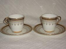 Royal Cauldon England Greek Key Gold 2 Sets of Demitass Cups and Saucers