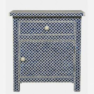 MADE TO ORDER Bone Inlay Indian Handicraft Bedside Cabinet Table Blue Fish Scale