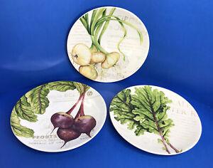 Williams Sonoma Farmers Market Salad Plates Set of 3 Discontinued HTF