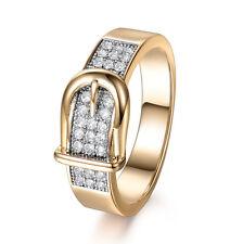 18K Multi-Tone Gold Belt Buckle Design White Sapphire Band Ring Jewelry Sz 6-9