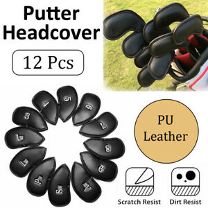 12PCS Headcover Golf Club Iron Head Covers Set PU Leather Putter 3-SW Big Number