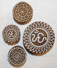 New Fairly Traded India Wood Printing Blocks Set Of 4 Om Aum Ohm Circle