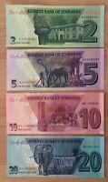 Zimbabwe  2, 5, 10, 20 Rand 2019-2020,  P neu UNC