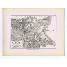 La Francia battaglie di BAYONNE 1813-FRANCESE e le posizioni alleate-ANTIQUE MAP 1875