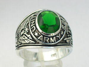 925 Sterling Silver United States Army Military May Emerald Men's Ring Size 10