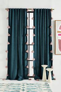 "Anthropologie Mindra Tassel Curtain 50"" 96"" in Blue - Green"