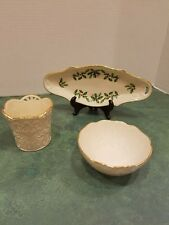 "Lot Of 3 Lenox Pieces -Merry Lights Votive, 4.5"" Bowl, Lenox Holiday Oval Dish"