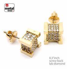 Men's Hip Hop 14k Gold Plated 3D Cube Block Square Screw Back Earrings 925 G