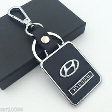 BLACK Leather Metal CAR Logo Key chain Keyring pendant key holder FOR HYUNDAI