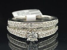 Round Diamond Solitaire Bridal Set White Gold Engagement Wedding Ring 1.03 Ct.