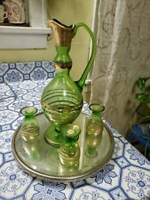 New listing Vintage glass pitcher w/ 3 shot glasses and round glass serving tray.