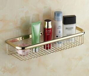 Bathroom Gold Color Brass Shower Caddy Basket Shelf wall mounted storage Basket