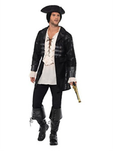 Buccaneer Pirate Jacket Mens Fancy Dress Caribbean Adults Costume Accessory Coat