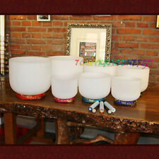 """chakras tones 7pcs 7""""-12"""" frosted crystal singing bowls with 7pcs mallet+pads"""