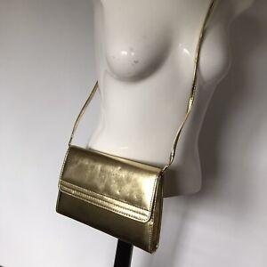 Vintage Metallic Gold Clutch Bag Shoulder Special Occasion Disco Cross Body