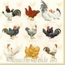 Pack of 20 Paper Napkins - Ambiente - Napkin / Decoupage - Pure Breed Chickens