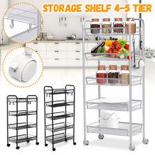 4 Tier Rolling Utility Cart Storage Basket Shelf Trolley Home Office   1@c