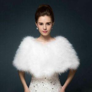 Women Real Ostrich Feather Fur Cape Bridal Wedding Winter Warm Shawl Wraps