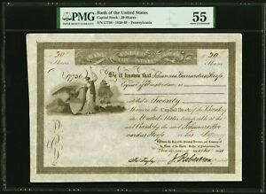 1841 BANK OF THE UNITED STATES Stock Certificate PMG 55 About Uncirculated