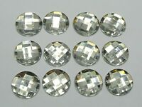 50 Clear Acrylic Flatback Rhinestone Round Gem Beads 18mm No Hole