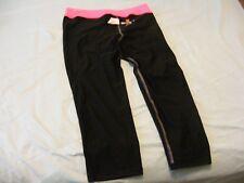 Hanes Girls' Big Sport Performance Capri Legging, Black/Pink Extreme, XL, New