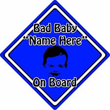 Personalised Bad Baby/Child On Board Car Sign ~ Baby Face Silhouette ~ D.Blue