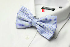 MENS Luxury 2 Layer Baby Blue with Blue Polka Dot Dickie Bow Tie Adjustable