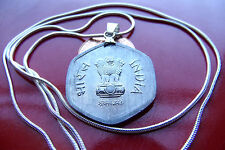 """India 1986 Ashoka Lion 20 Paise Pendant on a 30"""" 925 Sterling Silver Snake Chain"""