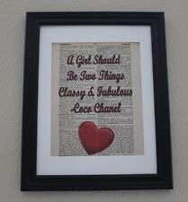 Coco Chanel Quote Print, Vintage Dictionary Page, Mixed Media, Wall Decor