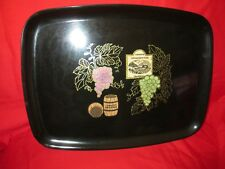 Vintage Couroc Mid Century Modern Black Grapes Wine Motif Serving Tray 12 5/8""
