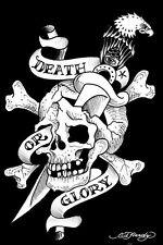 ED HARDY ~ DEATH OR GLORY ~ 24x36 TATTOO POSTER Skull Eagle Cross Bones Knife