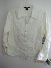 NWT FRENCH CUFF Ladies Winter White Button Down 3/4 Sleeves Blouse L $36