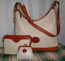 "Dooney & Bourke Large Leather Hobo Shoulder-bag/Coin Purse & Cosmetic Bag ""Bone"""