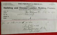 1900 New Richmond Ohio Fridman Lumber Co Receipt Building Molding Frames Tobacco