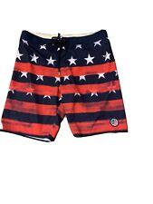 ONeill HYPERFREAK 4th of July Mens Boardshorts 33 Red White Blue Swim Trunks